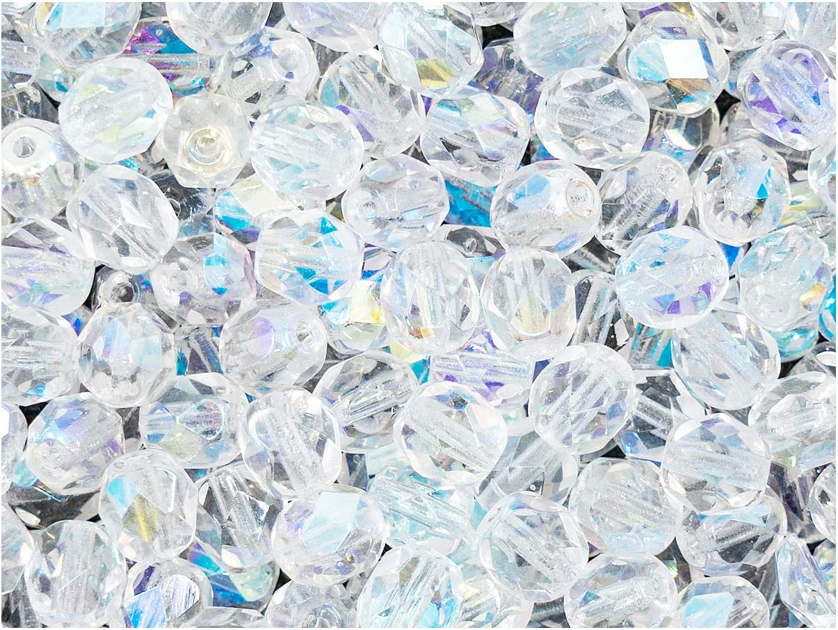 Crystal Clear Transparent 50 6mm Round Czech Glass Faceted Fire Polish Beads