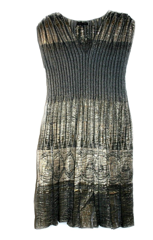 MAX EDITION Women's Knee-Length Dress Grey/Gold/Metallic Color (Size: M)