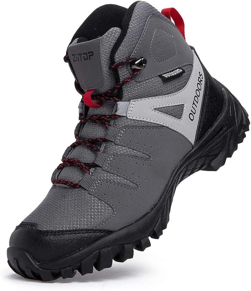 ziitop Chaussures de Randonn/ée Homme Bottes Tactiques pour Hommes Chaussures de randonn/ée et de Trekking /à Taille Haute 39-46 EU Noir Gris Bottes de randonn/ée