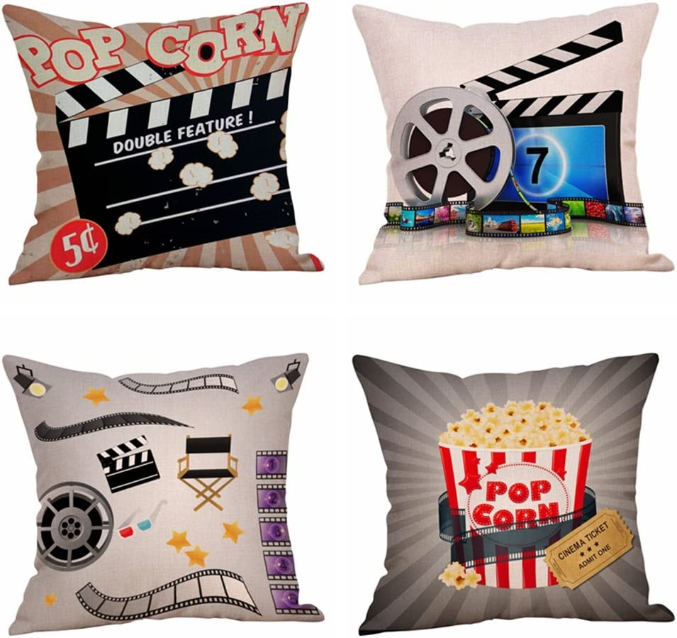 Steven.Smith Movie Theater Cinema Personalized Cotton Linen Square Burlap Decorative Throw Pillow Case Cushion Cover 18 Inch (4 Pack Cinema Popcorn)