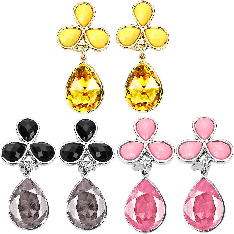 Pendientes de lágrimas de cristal con clip para mujeres y niñas, pendientes con clip sin perforar