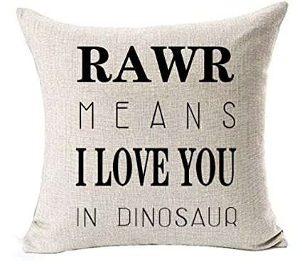 32b2e5429 Amazon.com: Cotton linen Quote Letters RAWR MEANS I LOVE YOU IN DINOSAUR  Throw pillow case Cushion cover pillowcase for Sofa home decor 18