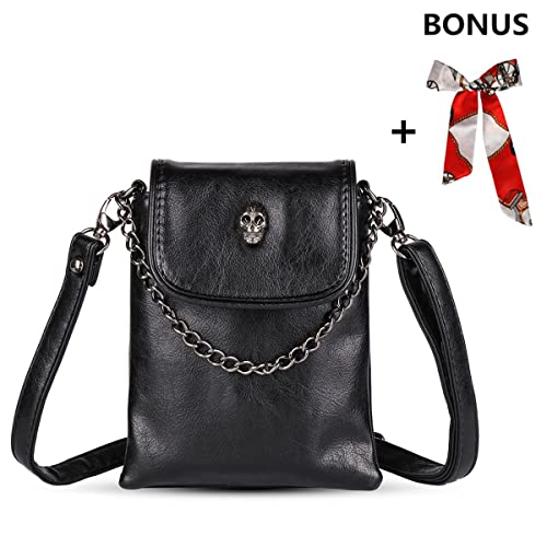 ... xhorizon FL1 Women Studded Skull Gothic Crossbody Shoulder Bag Travel Leather  Handbag Cellphone Purse check out ... d886026aca41e