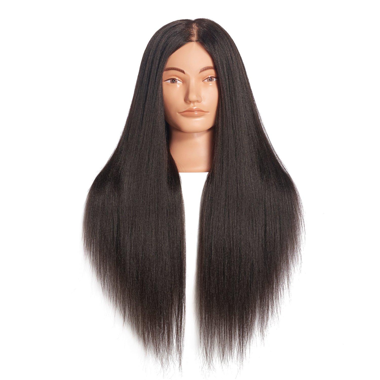 Hairginkgo 66cm- 71cm cabeza de maniquí cabeza de entrenamiento de peluquería de fibra sintética maniquí de cosmetología con soporte de abrazadera de mesa libre (92019D0220)
