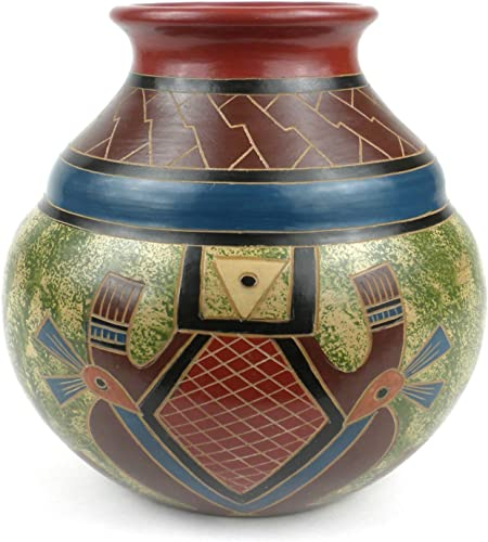 Global Crafts Traditional Handmade Nicaraguan Pottery Vase 7 Tall Vase Abstract Design
