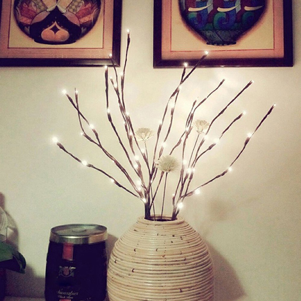 Ximandi Christmas, LED Willow Branch Lamp Floral Lights 20 Bulbs Home Christmas Party Garden Decor (Yellow)