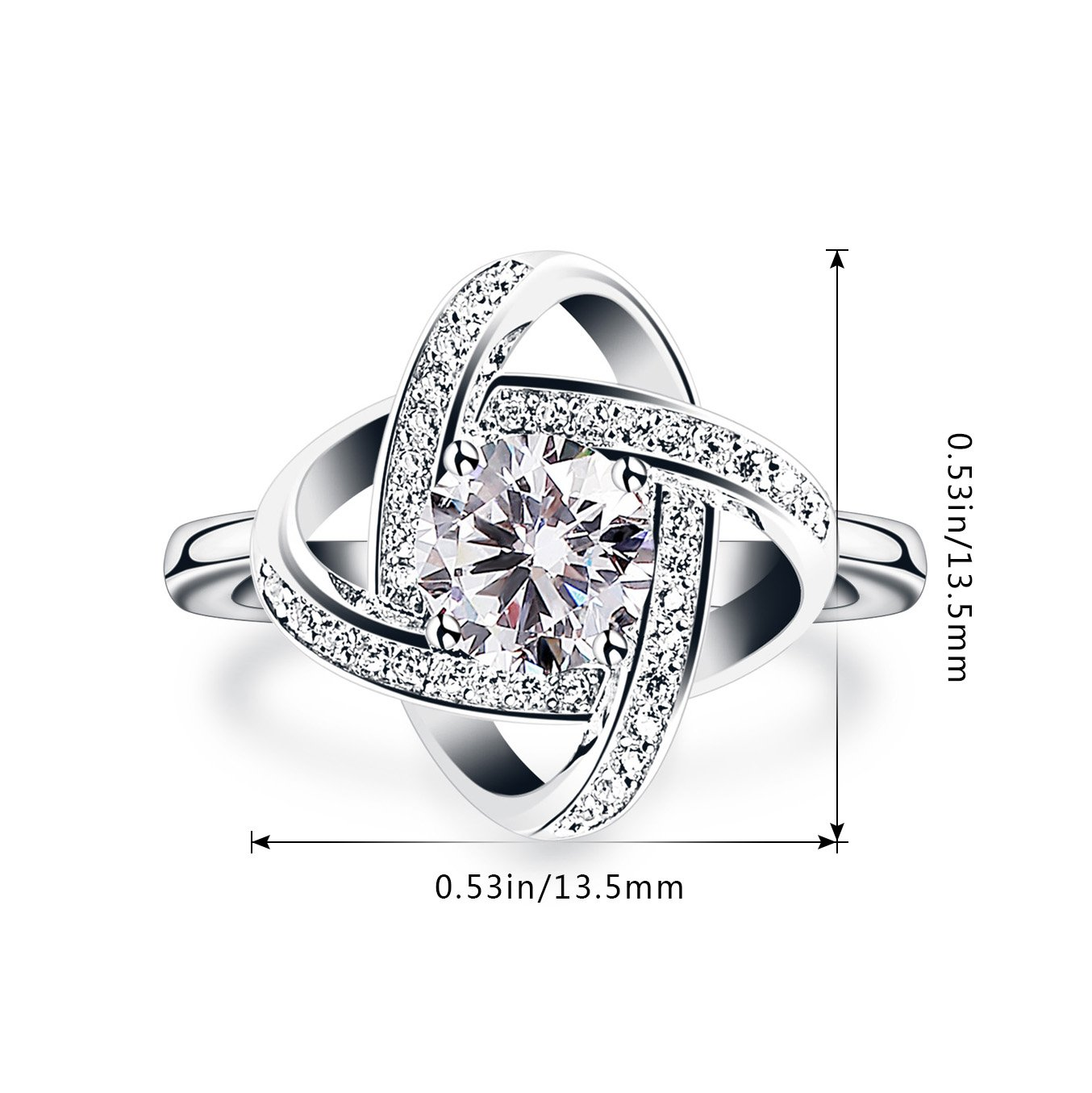B.Catcher Women's Ring Adjustable 925 Sterling Silver Cubic Zirconia Valentine's Gift for Her by B.Catcher (Image #7)