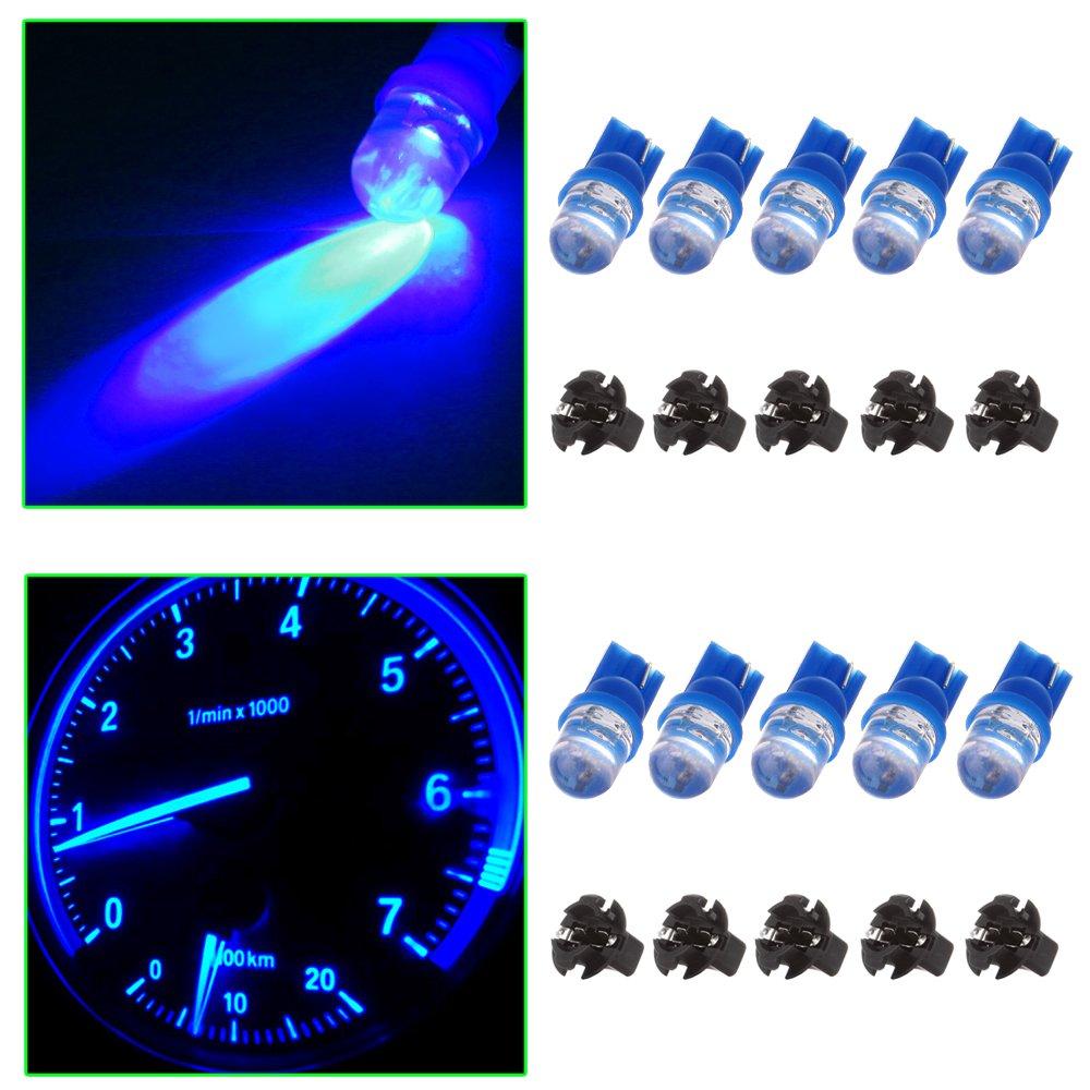 cciyu 10x T10 168 184 Diode Led Bulbs Blue Dashboard Gauge Light Speedometer Odometer Tachometer LED light w//Socket