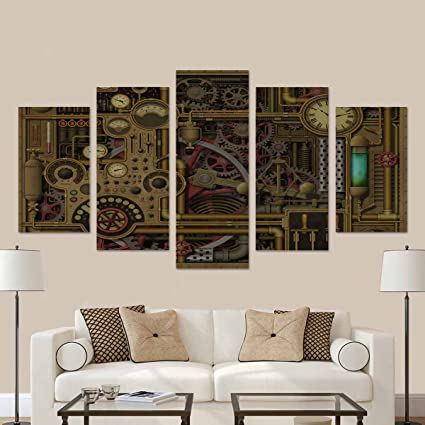 Interestprint Steampunk Background With Clocks Dials Gears And Cogs Pipes And Switches Canvas Wall Art Painting Modern Home Decor Picture For Living Room Decor Gifts No Frame Amazon Co Uk Kitchen Home