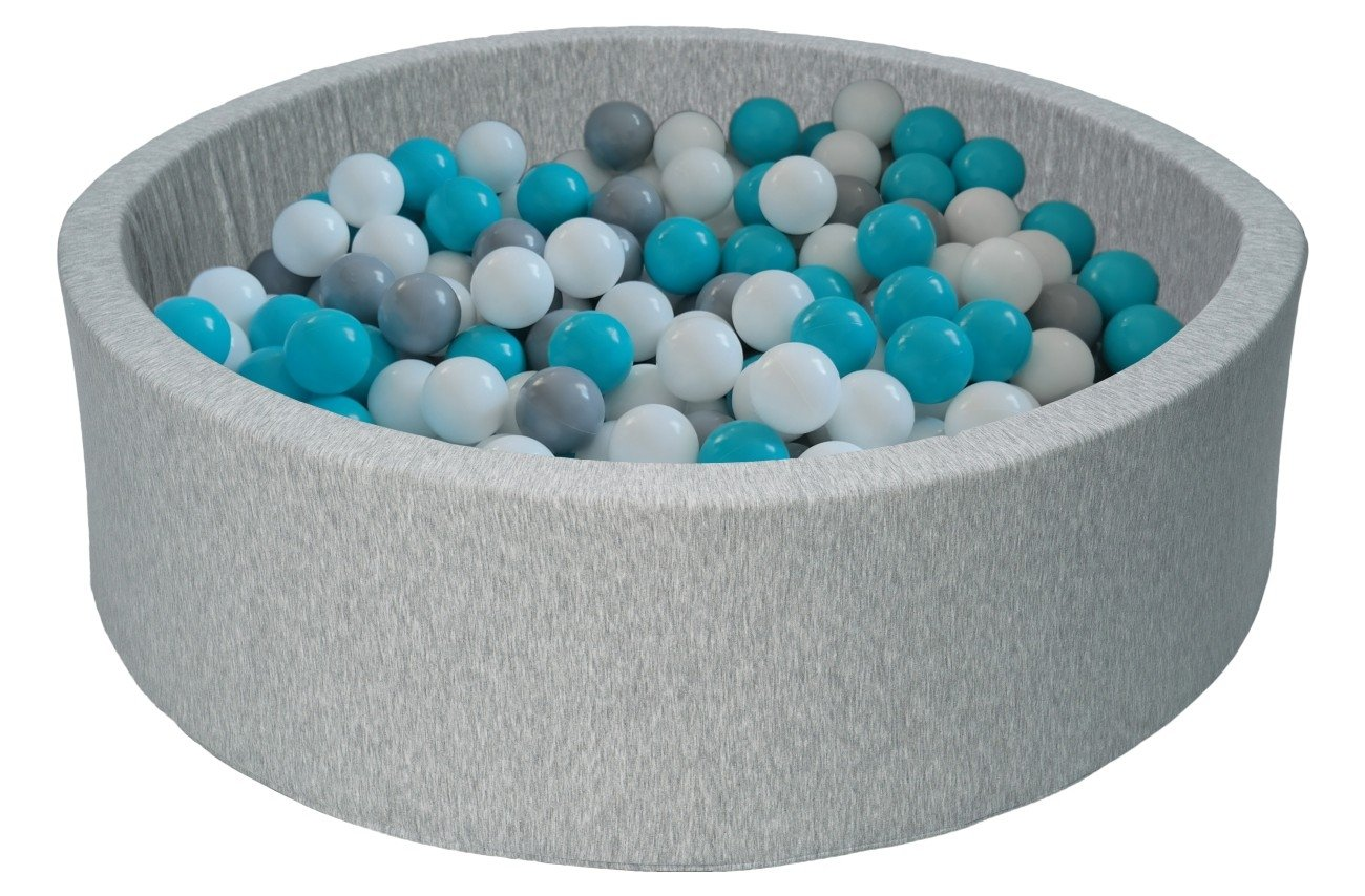 Bällebad Ballpool Kugelbad Bällchenbad Bällchenpool Kinder Pool mit 150 Bällen (Farbe der Bälle: weiß,grau, türkis)