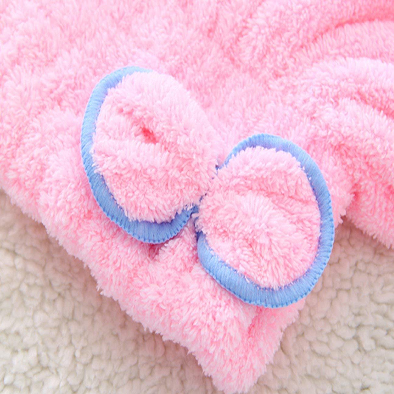 MachinYesell S/échage Rapide S/échage des Cheveux Chapeau Wrap Cap Baignade Super Absorbant Doux Velvet Bonnet de Douche pour Adultes Femme Salle de Bain Fournitures Rose