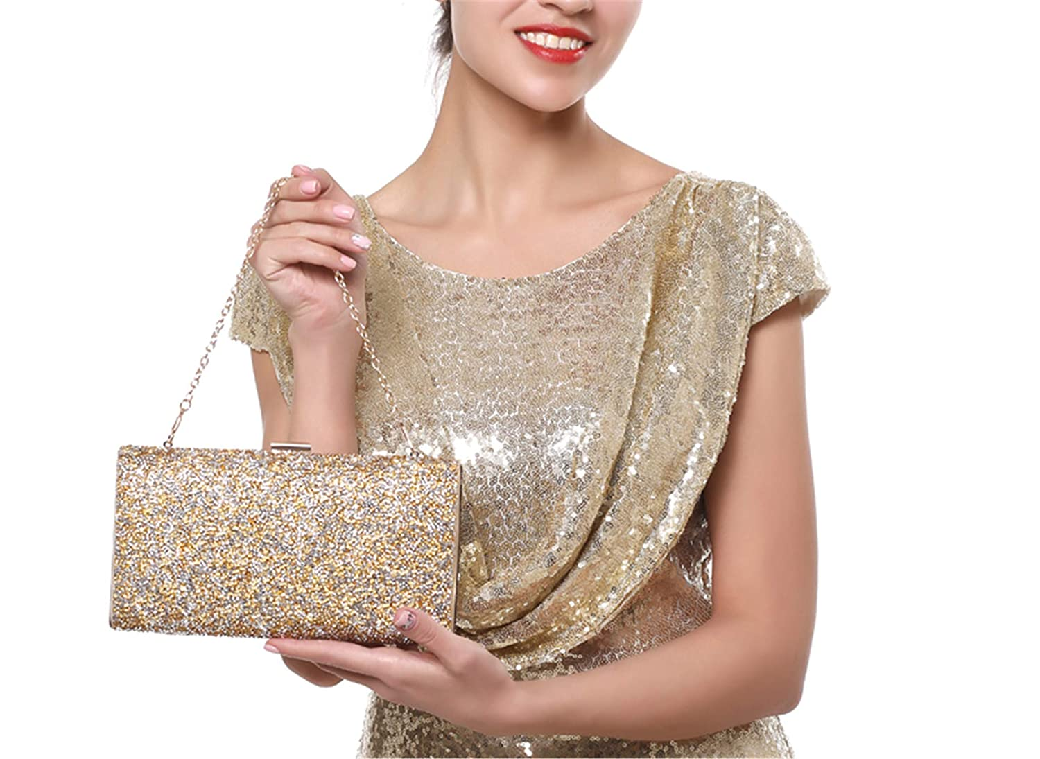 Color : Gold, Size : Free Size Women Rhinestone Evening Bag Shoulder Handbag Heart Shape Clutch Bag Messenger