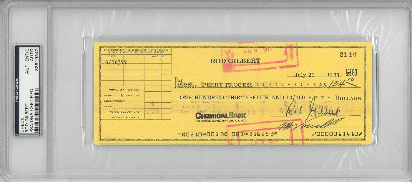 Rod Gilbert Signed Authentic Autographed Check Slabbed PSA/DNA #83910540