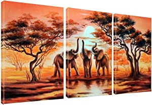 "Canvas Wall Art African Elephants Painting Print on Canvas Wall Art 12"" x 16"" x 3 Panels Landscape Pictures Paintings Artwork Framed for Living Room Home Decoration"