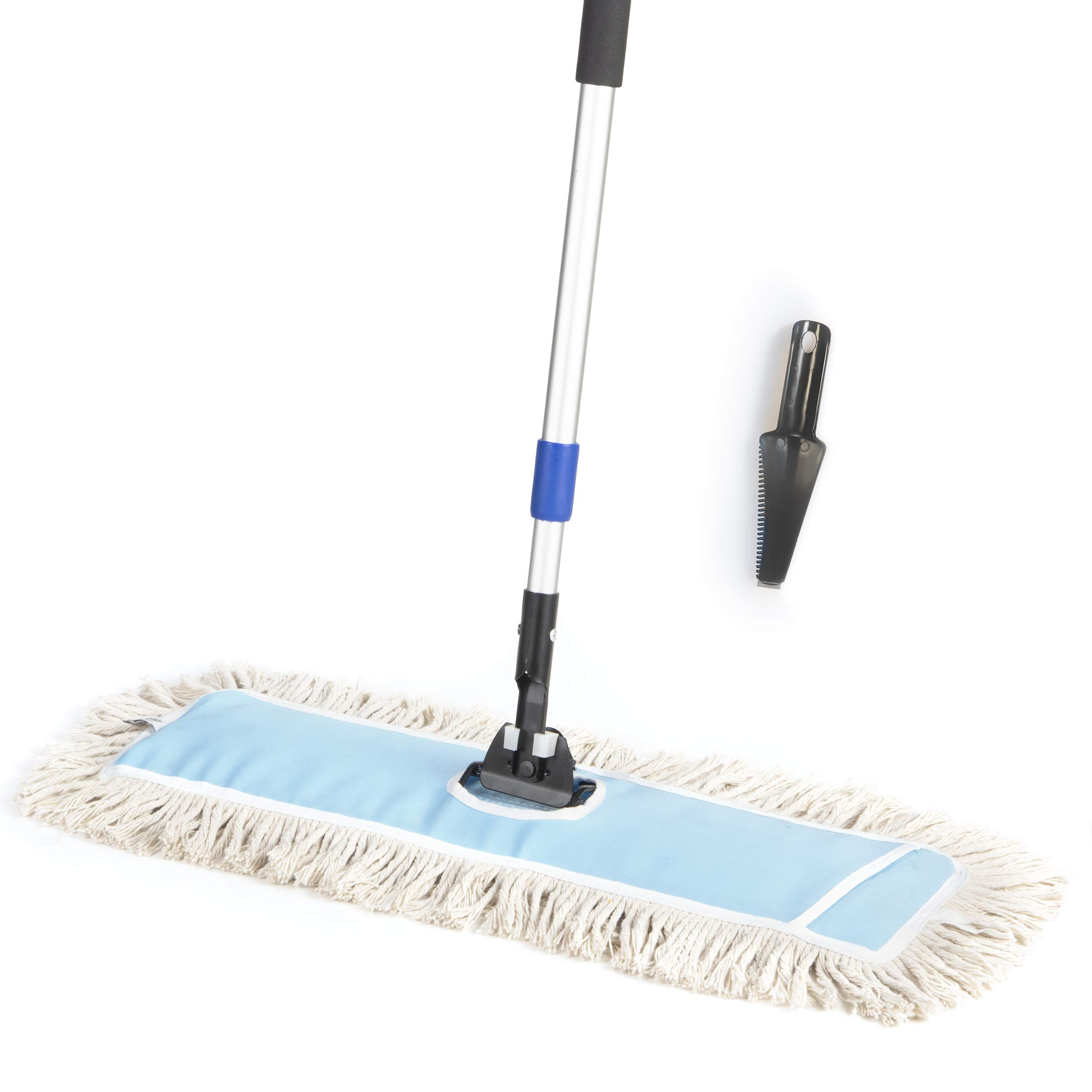UZULIVING Cotton Dust Mop with 70'' Telescopic Handle (Extendable) Unbleached, Thick Mopping Pad | Lightweight Floor Cleaning Support | Kitchen Bathroom (1. Full Set of 24'' Mop)