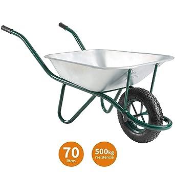 Carretilla de Obra o Jardin 70L de Acero Galvanizado Resiste Hasta 500kg con Rueda Hinchable para Profesional, Construcción, Jardin | SIN MONTAJE - Packer PRO: Amazon.es: Industria, empresas y ciencia