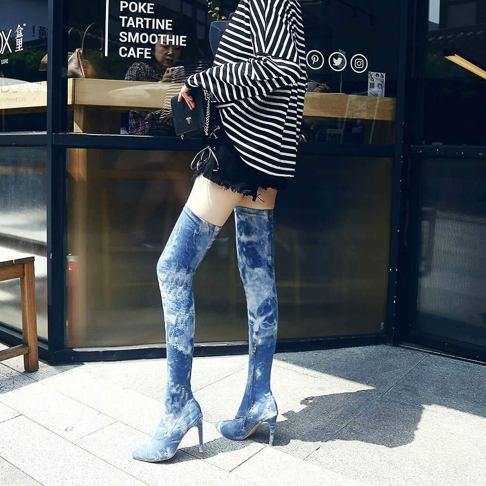 ZHRUI Damenstiefel Stiefeletten Stiefel Schlanke High Stiefel Heels Stiefel High Hohe Stiefel Cowboy Stiefel Overknee Stiefel Casual Stiefel Freizeit Keilabsatz (Farbe   Blau 1, Größe   41 EU) 409559