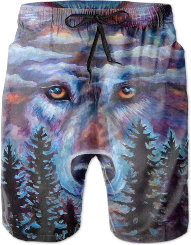 Wolf Print Mens Beachwear Quick Dry Beach Shorts Fashion Watershort