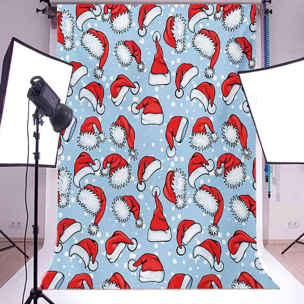 Christmas 10x15 FT Photo Backdrops,Pop Art Style Retro Posters Inspired Old-Fashion Santa Hats and Snow Illustration Background for Child Baby Shower Photo Vinyl Studio Prop Photobooth Photoshoot