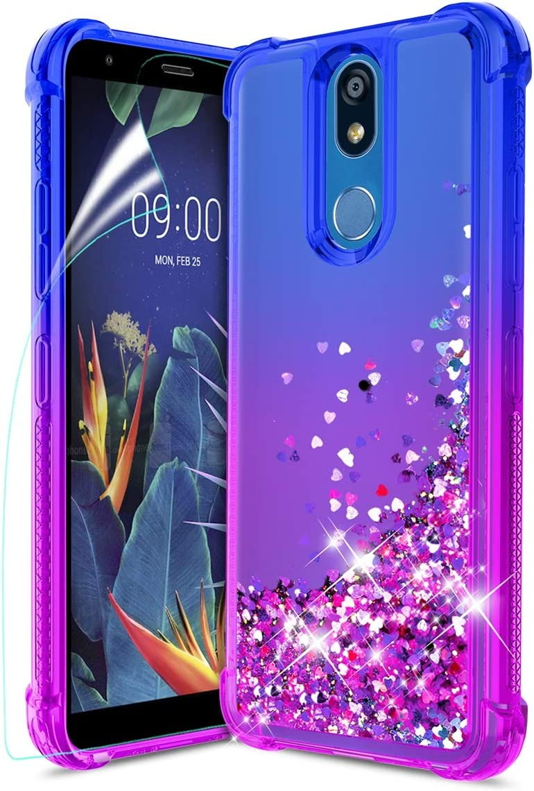 Tmacker LG K40 Case,LG Solo LTE/K12 Plus/LG Xpression Plus 2 (AT&T)/X4 2019/LMX420 Phone Case w/HD Screen Protector,TPU Shockproof Glitter Quicksand Protective Phone Cover for Girls Women-Bule/Purple