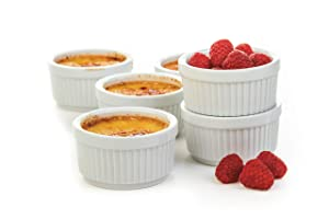 Prepworks by Progressive Porcelain Stacking Ramekins-Set of 6 CRR-6 for Baking, Crème Brulee Dishes, Souffle, Flan Pan Sauce, Custard, Pudding Cups, Dipping Bowls