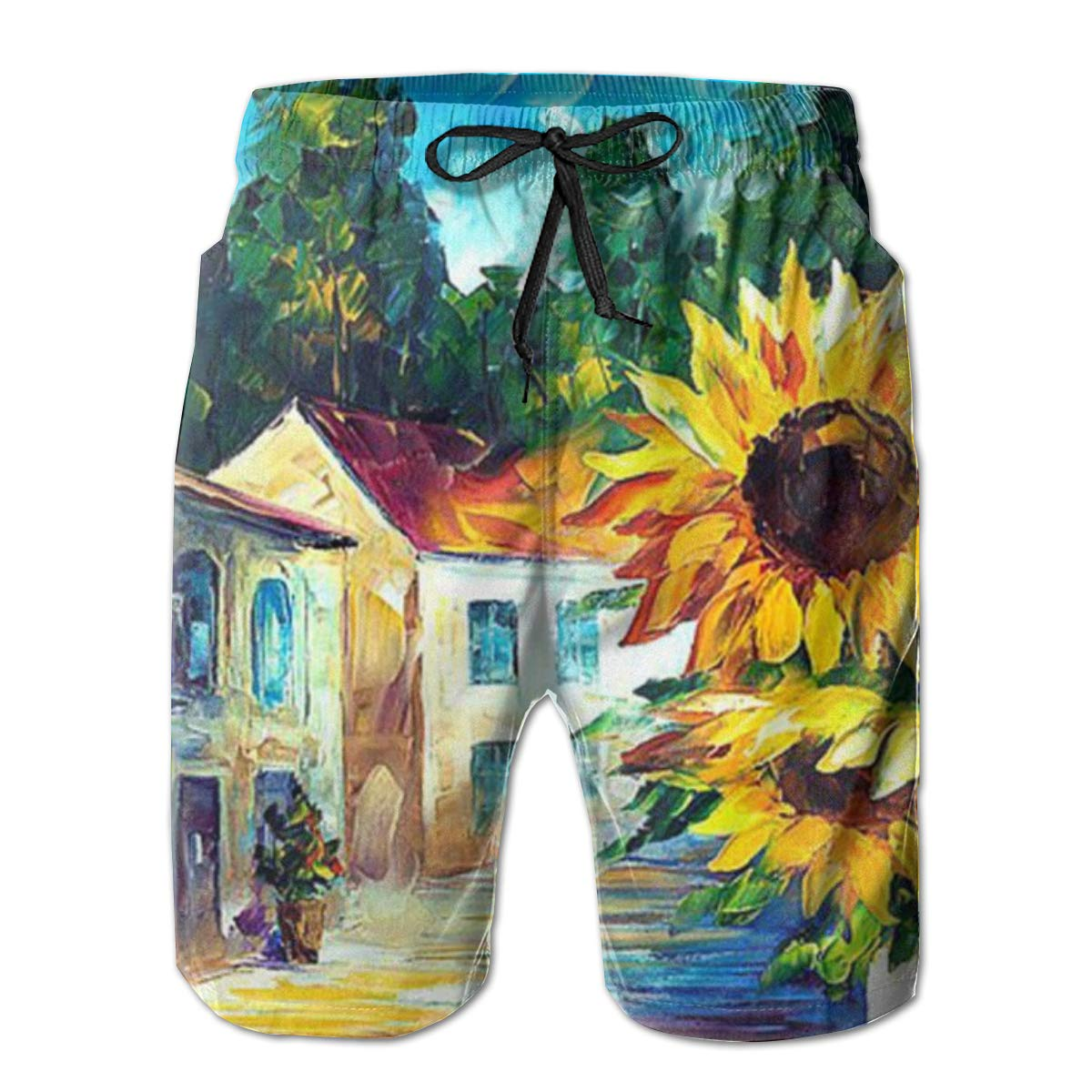 WWT Sunflowers with House Tree Scenery Mens Adjustable Funny Swim Trunks with Mesh Lining//Side Pockets