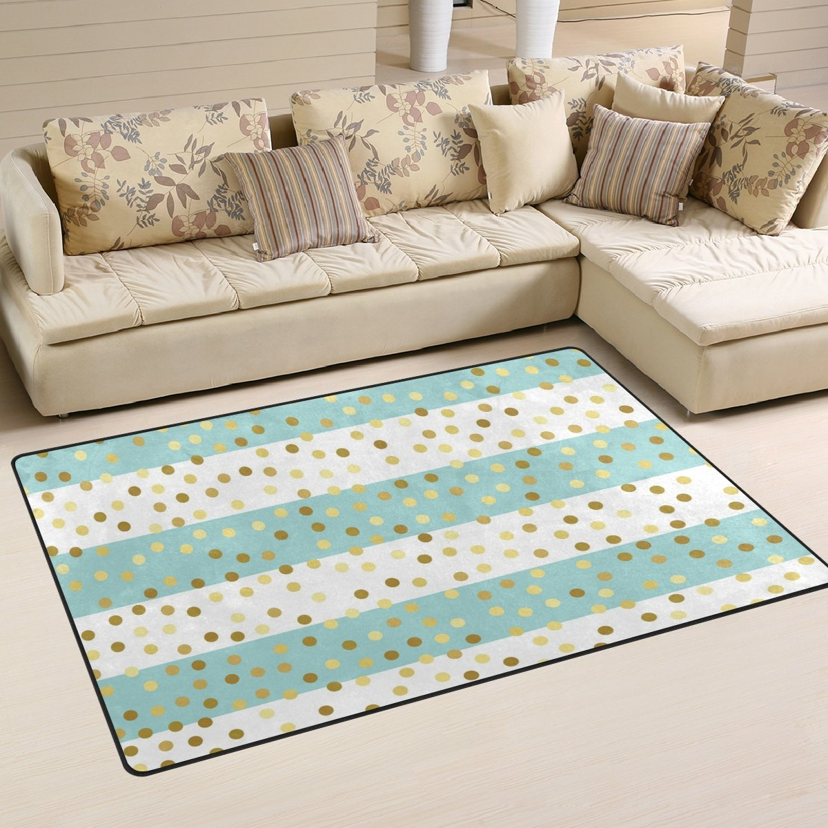 Naanle Mint Green Stripe Non Slip Area Rug for Living Dinning Room Bedroom Kitchen, 50 x 80 cm(1.7' x 2.6' ft), Golden Glitter Nursery Rug Floor Carpet Yoga Mat