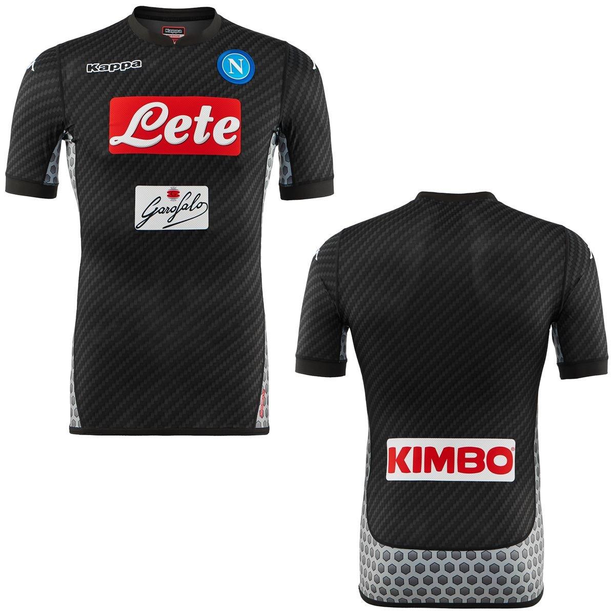 2017-2018 Napoli Kappa Authentic 4th Shirt B077S2FZHL 4L|ブラック ブラック 4L