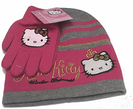 31bafce73fc Hello Kitty Hat and Gloves set - Pink and Grey 2 piece Hat and Gloves set
