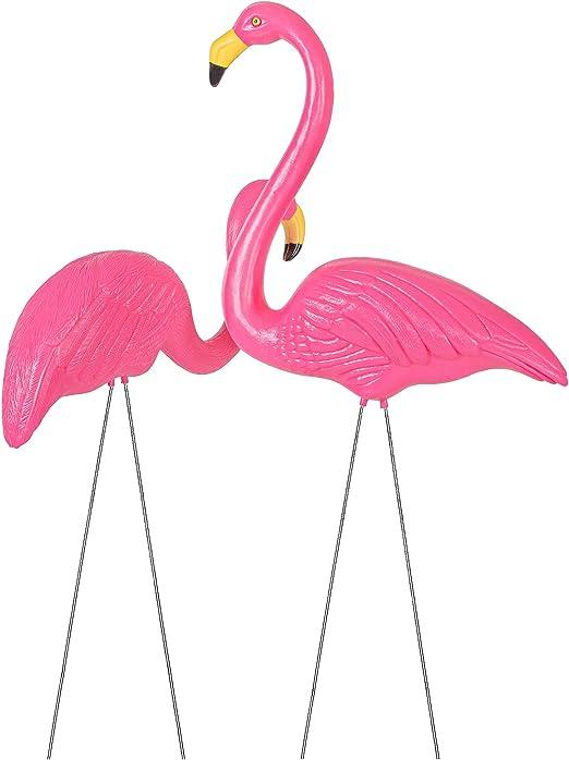 SPRINGOS - Figura decorativa para jardín (2/3), diseño de flamencos, color rosa, 2 unidades.: Amazon.es: Jardín