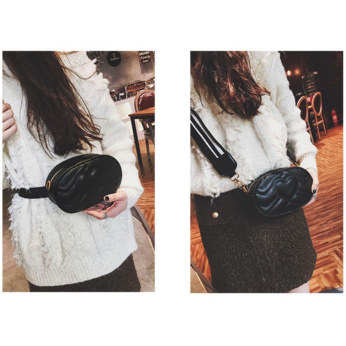 Mily Fashion Women Elegant PU Leather Waist Bag Love Shape Pattern Embroidery Cross Body Bag Fanny Packs by Mily (Image #3)