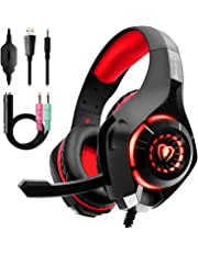 Beexcellent Gaming Headset for PS4 Xbox One PC, Surround Sound PS4 Headset with Anti-Noise Mic, Ergonomic Memory Foam Earmuff, Adjustable Headband, Led Light for Laptop Mac iPad Smartphone-Red