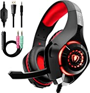 Beexcellent Gaming Headset with Noise Canceling mic, PS4 Xbox One Headset with Crystal 3D Gaming Sound, Memory Foam Earpad f