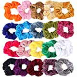20 Pack Hair Scrunchies Velvet Elastics Hair Ties Scrunchy Bands Ties Ropes Scrunchie for Women or Girls Hair Accessories, 20 Pcs Bright Colorful (Come With a Free Gift Pouch)
