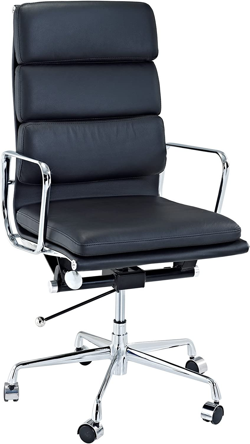 Modway Discovery High Back Leather Conference Office Chair in Black Genuine Leather