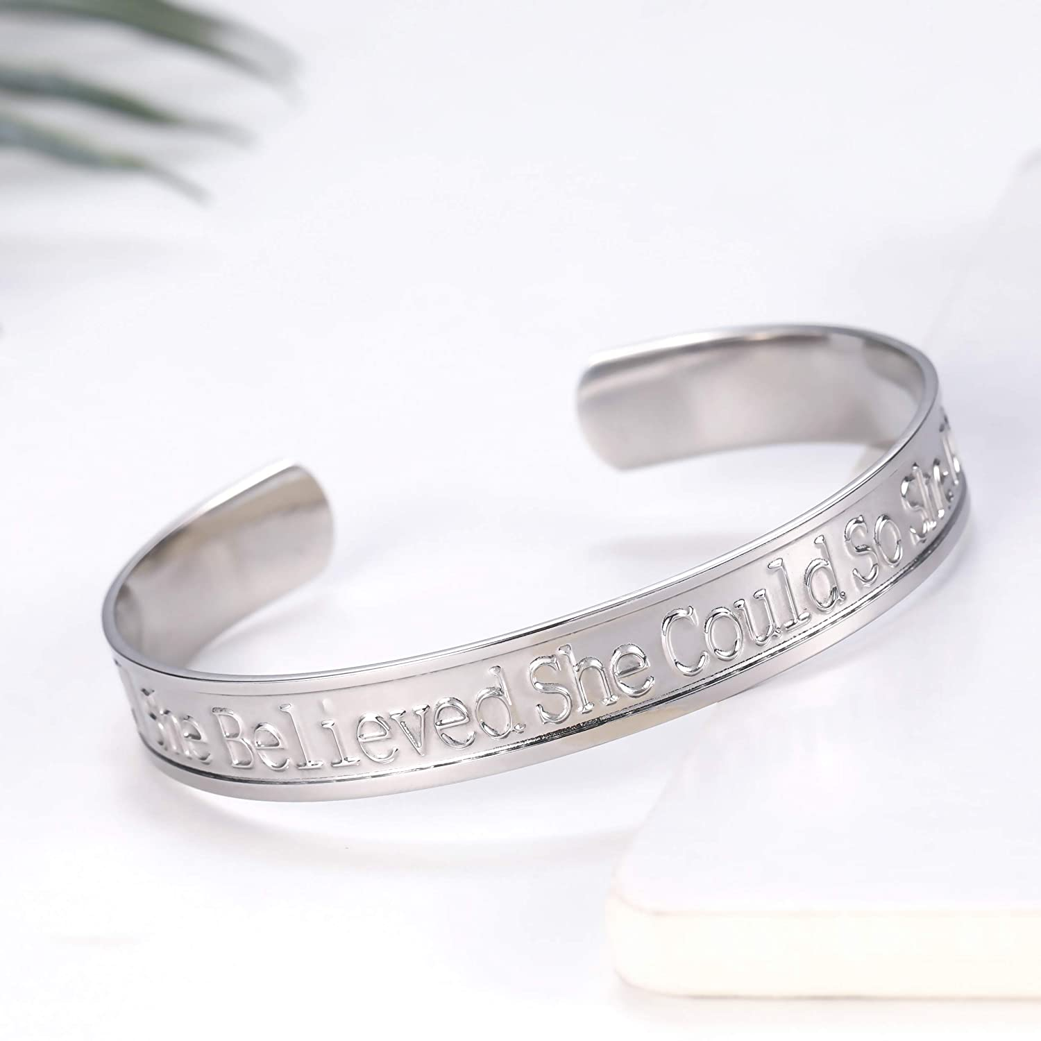 EUEAVAN Stainless Steel She Believed She Could So She Did Bold Reminder Pattern Bangle Silver Color Bracelet for Women Girls Teens
