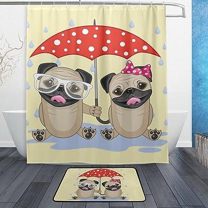 deyya Cute Couple perro cortina de ducha tela de poliéster cortina de baño juego de alfombrillas