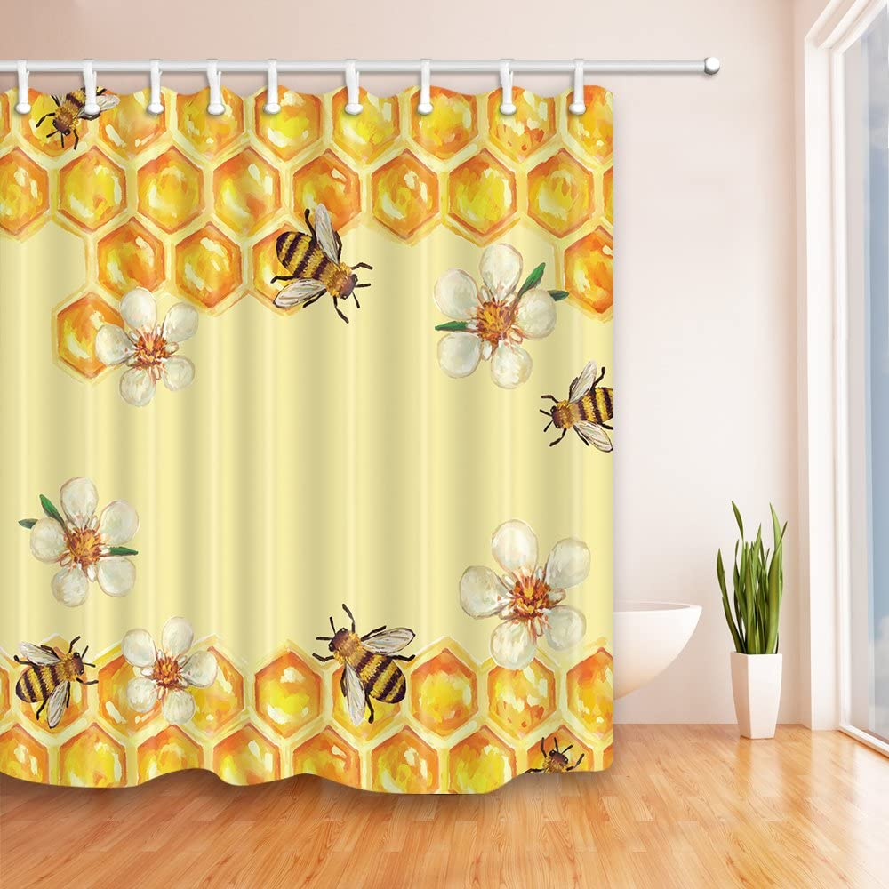Amazon Com Nymb Bee In Flower Take Honey Shower Curtain 69x70 Inches Polyester Fabric Bathroom Fantastic Decorations Funny Animals Bath Curtains Hooks Included Multi26 Kitchen Dining