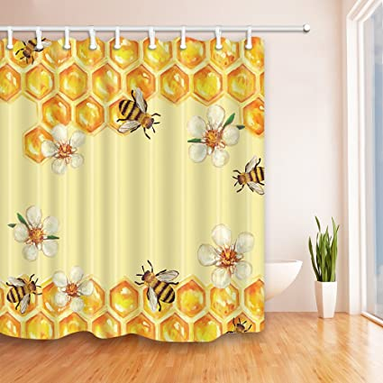 NYMB Bee In Flower Take Honey Shower Curtain 69X70 Inches Mildew Resistant Polyester Fabric Bathroom Fantastic