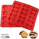 HomeQuip Keks- und Kuchenform-Set 2-teilig–Welpen-Pfote & Knochen, Silikon-Backtablett, zum Backen von Desserts, Keksen, Muffins & Plätzchen–lustige Süßigkeit für Kinder, die ganze Familie und Ihren Hund