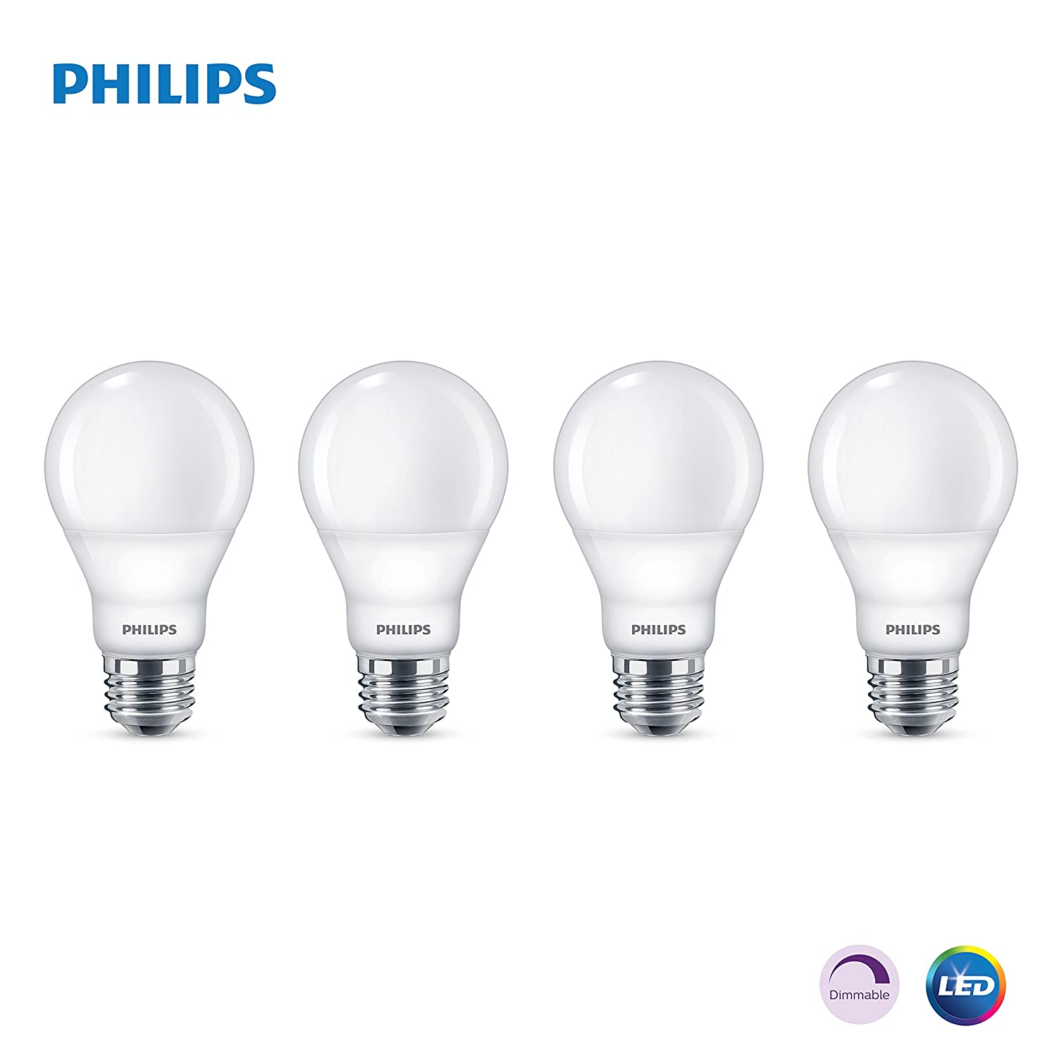 Phillips LED Dimmable A19 Light Bulb with Warm Glow Effect 800 Lumen 2200 2700 Kelvin 9.5 Watt 60 Watt Equivalent E26 Base Frosted Soft White 4 Pack
