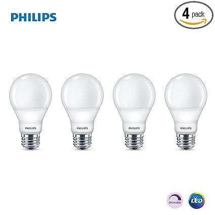 Phillips LED Dimmable A19 Light Bulb with Warm Glow Effect 800-Lumen,  2200-2700 Kelvin, 9 5-Watt (60-Watt Equivalent), E26 Base, Frosted, Soft  White,