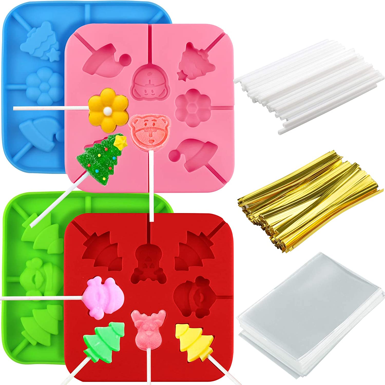 Palksky 4pcs Christmas Candy Molds Silicone Lollipop Molds Chocolate Lollypop Sucker Mold including elk Santa Claus Christmas tree Xmas hat Bear flower with Lollipop Sticks, Treat Bags and Twist Ties