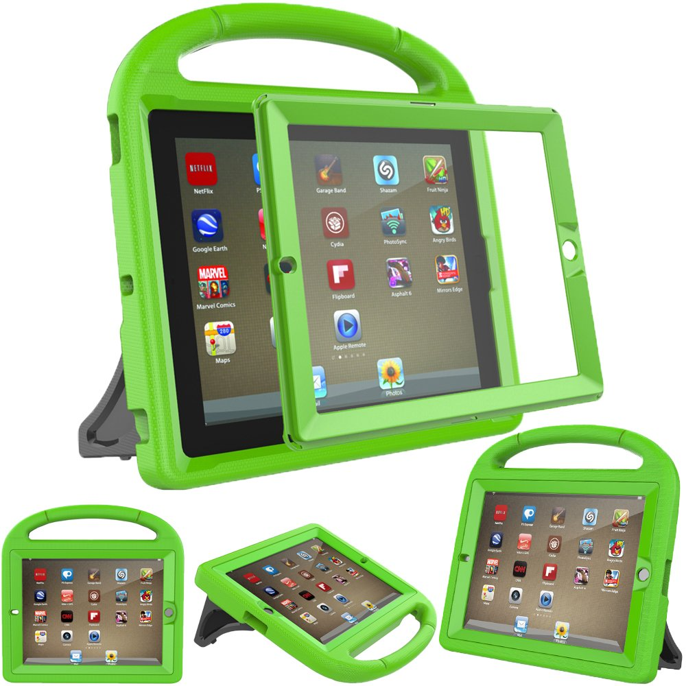 eTopxizu Shockproof Case Light Weight Kids Case for iPad 4, iPad 3 & iPad 2 2nd 3rd 4th Generation,iPad 2 3 4 Shockproof Case Super Protection Cover Handle Stand Case for Children - Green