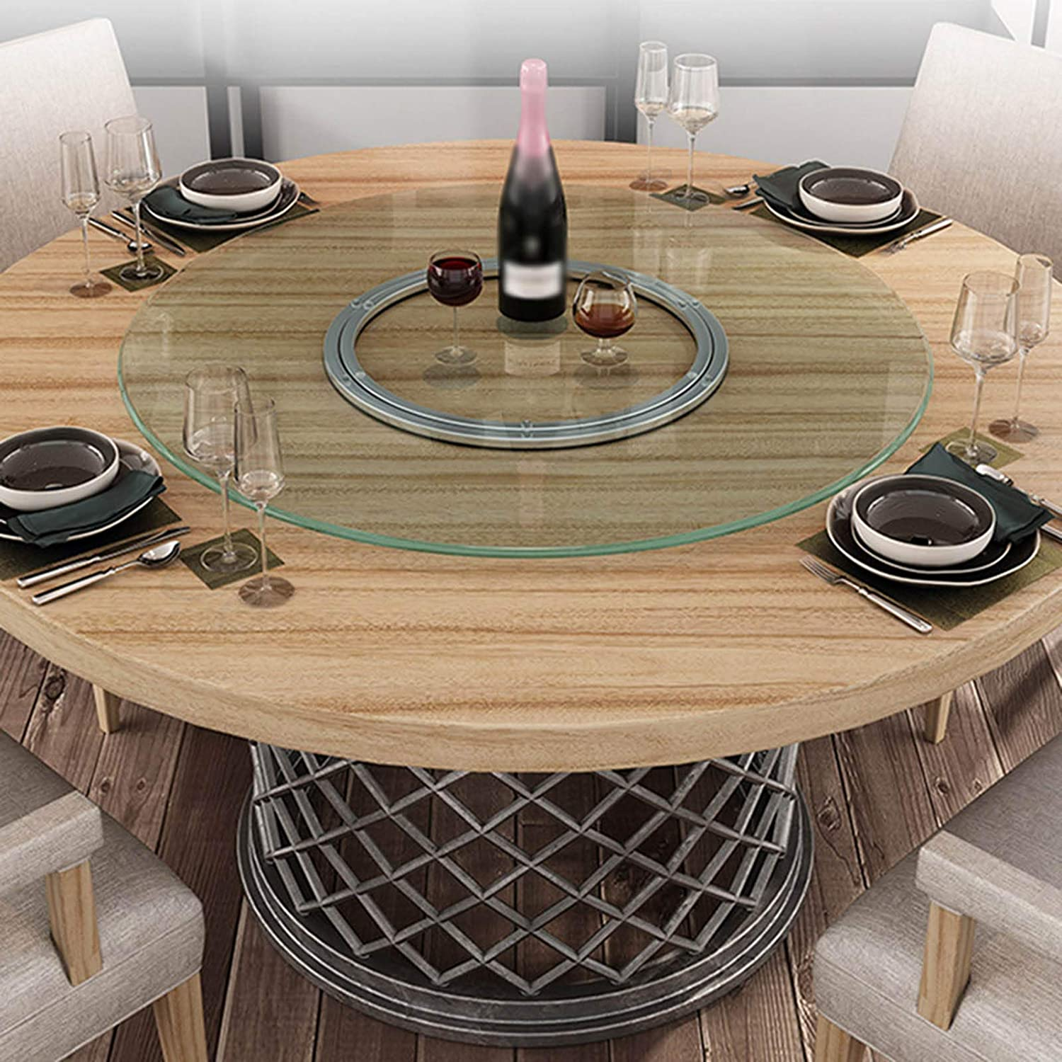 Glass Table Top Tempered Glass Lazy Susan Kitchen Turntable 0 3inch With Flat Polished Edge For Dining Table Coffee Table Amazon Co Uk Kitchen Home