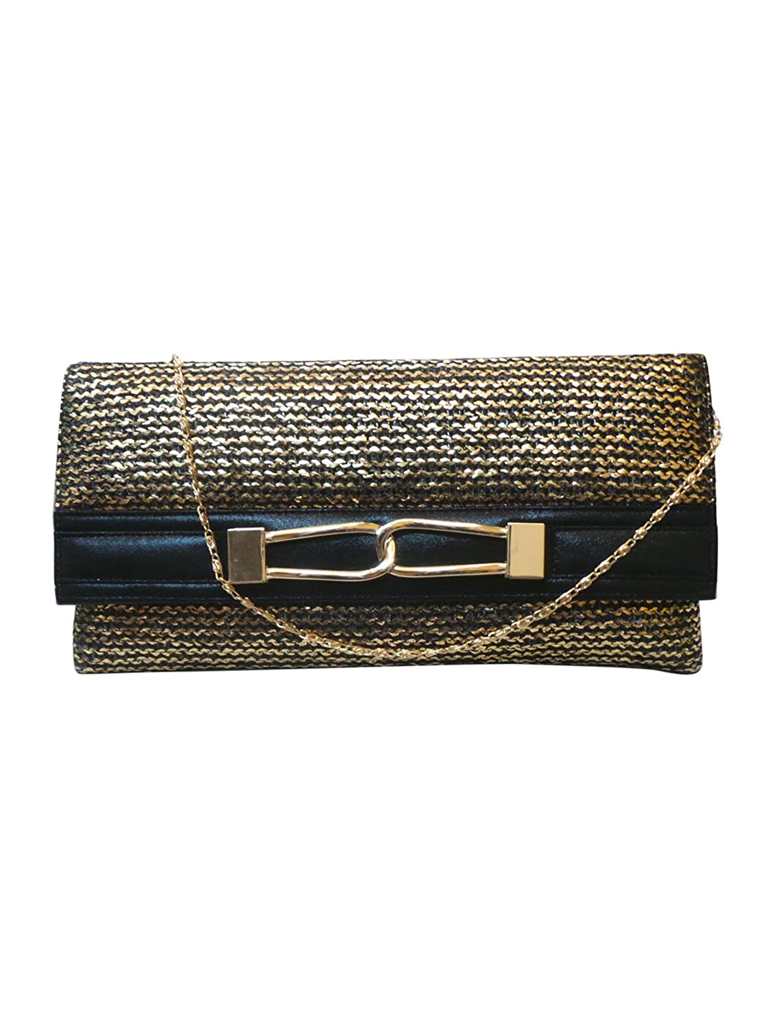 Bhamini Black Gold Touch Jute Clutch with Metal Loop Brooch
