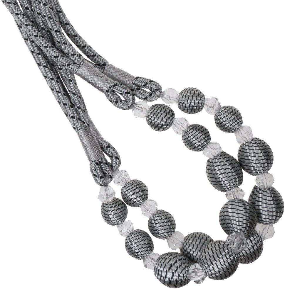 Beige Sharplace Paire Embrasse de Rideau Motif Perles Chambre Fen/être D/écor