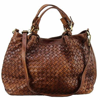 f225e07e39af7 BZNA Bag Rene cognac Italy Designer Damen Handtasche Schultertasche Tasche  Schafsleder Shopper Neu