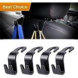 Tencal Car Headrest Hook,Vehicle Universal Car Back Seat Hooks for Bag Purse Cloth Grocery (Black - Pack of 4)