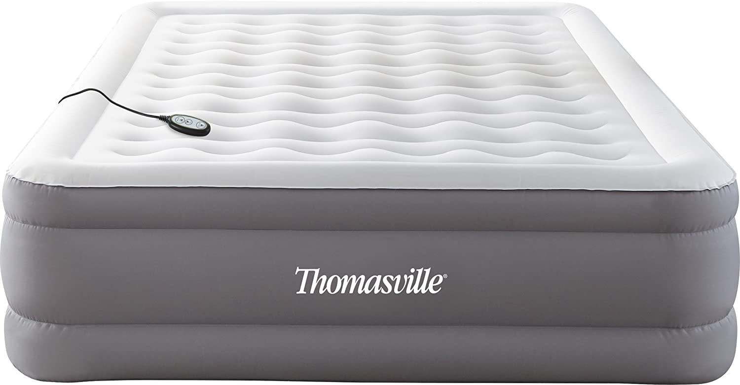 Thomasville Adjusta Comfort Pillow Top Inflatable Air Mattress: Raised-Profile Air Bed with Internal Pump, Queen JCP71760QN